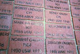 Bricks with servicemembers names and their service